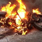 1928 H-D JD goes up in flames