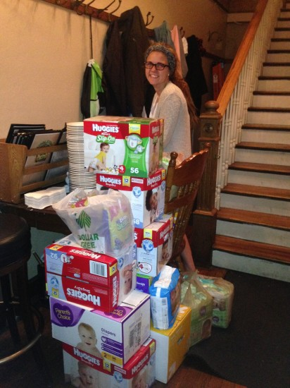 08-31-14 Sun - Diaper Drive for Diaper Bank of Lake County, IL.  They are stacked so high you can barely see the Hostess!