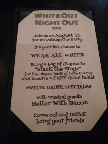 "08-31-14 Sun - Middleton's on Main in Wauconda, IL  ""White Out Night Out"" event."
