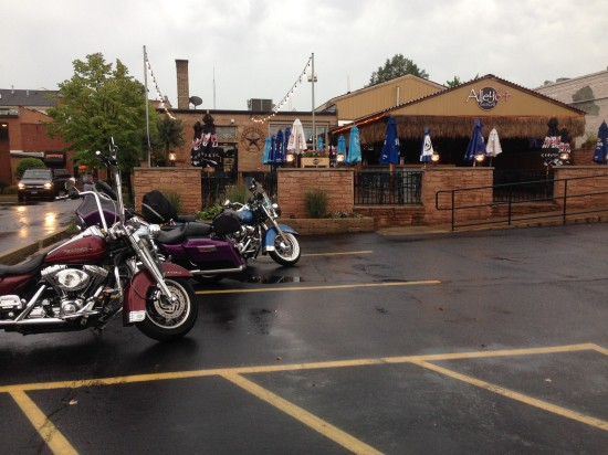 09-04-14 Thur - Alley 64, Saint Charles, IL.  A few of us braved the weather.  Spikey's bike is the purple one.