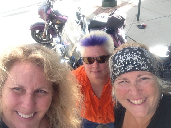"09-04-14 Thur - Ellie Raines, founder of Midwest Women Riders facebook group, ""Spikey"" Kim Natzke Grasser and Lady Fred at Hink's Bar & Grill in Sycamore, IL"